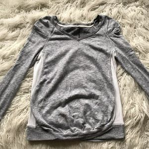 Imanimo Maternity Fitted Marled Sweater Grey White
